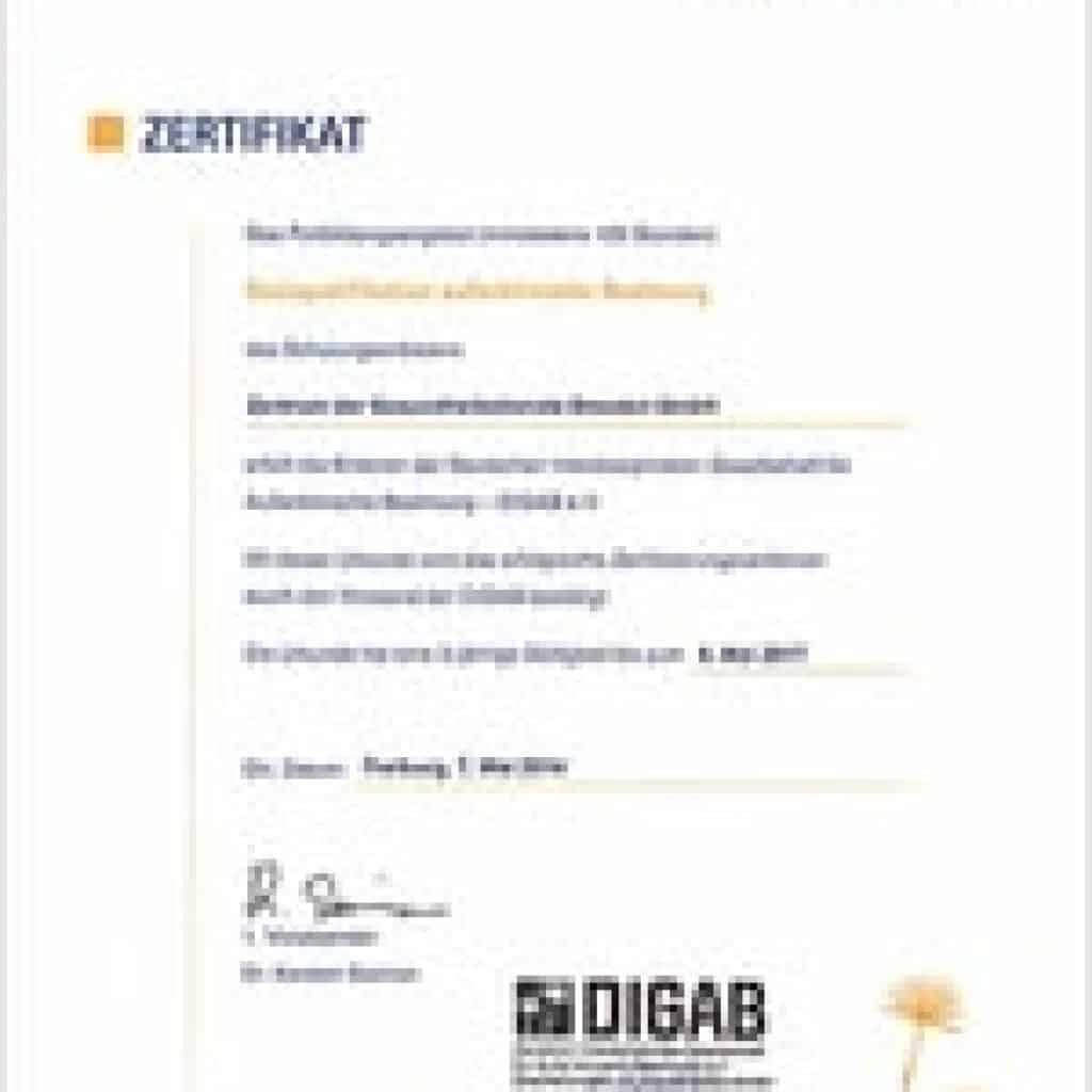 Zertifikat von der DIGAB