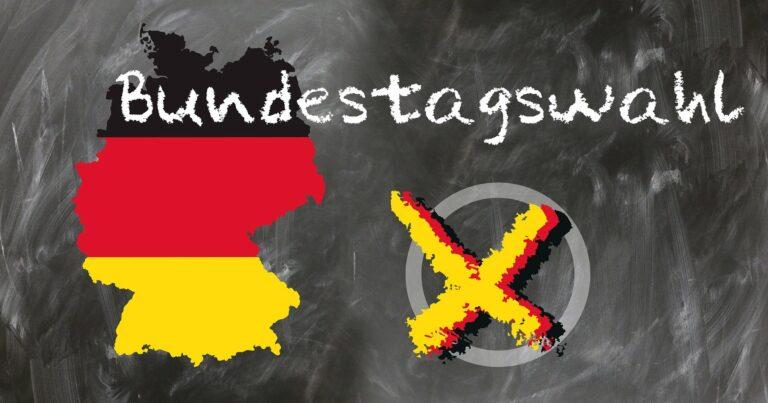 Grafik mit Deutschlandkarte und Wahlkreuz